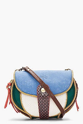 JEROME DREYFUSS Mini Blue Suede & Snakeskin Momo Disco Bag