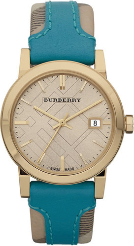 Burberry Medium Stamped Leather Strap Watch