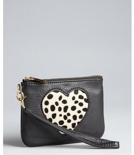 Rebecca Minkoff black leather and pony hair 'Heart Cory' wristlet pouch