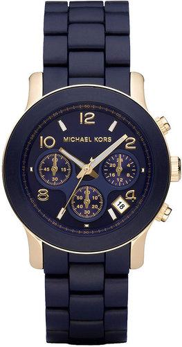 Michael Kors Watch, Women's Runway Navy Blue Polyurethane-Wrapped Gold-tone Stainless Steel Bracelet 38mm MK5316