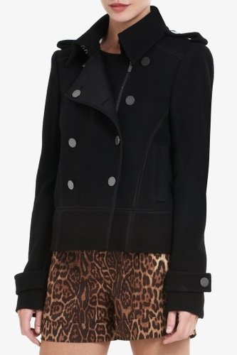 Adam A-Line Double-Breasted Cropped Pea Coat