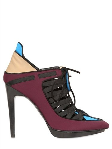 Pierre Hardy - 110mm Neoprene Lace Up Pointy Low Boots