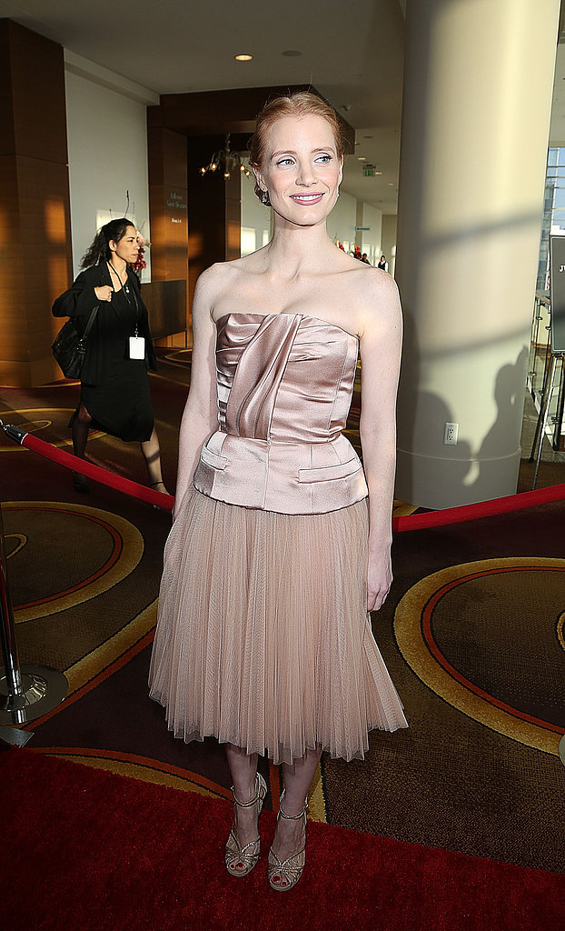 Jessica Chastain wore Dior at the Writers Guild Awards in Los Angeles.