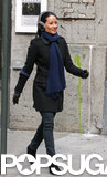 Lucy Liu bundled up in earmuffs on her way to the Elementary set in NYC on Wednesday.