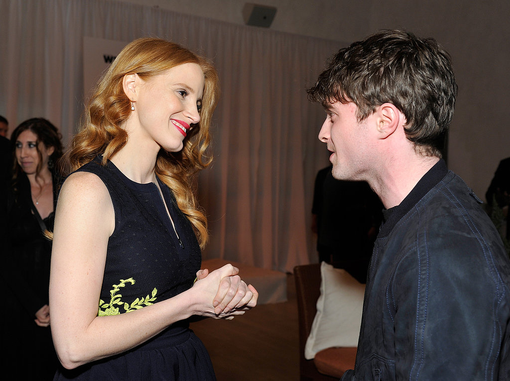 Jessica Chastain chatted with Daniel Radcliffe at the Women in Film event in LA on Friday night.