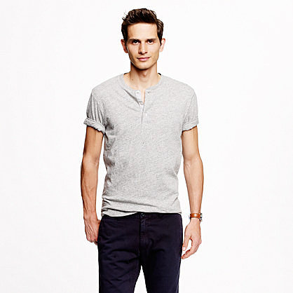 Field knit jaspé short-sleeve henley