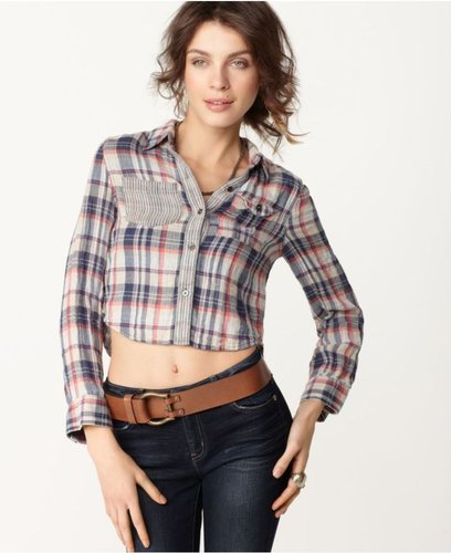 Free People Top, V Neck Long Sleeve Plaid Pocket Button Cropped Shirt
