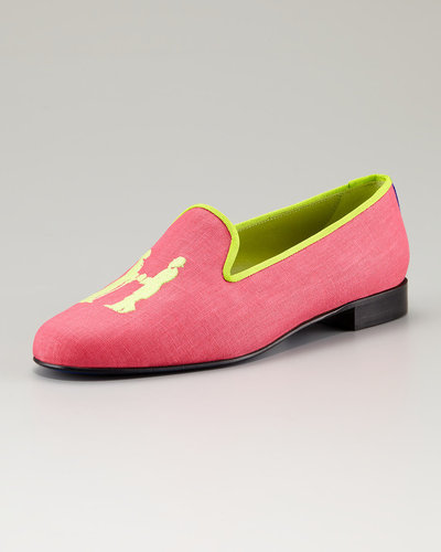 Hadleigh's Embroidered H Gentlemen Linen Loafer, Hot Pink