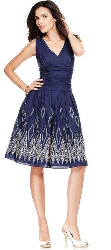 SL Fashions Dress, Sleeveless Ruched Geometric A-Line