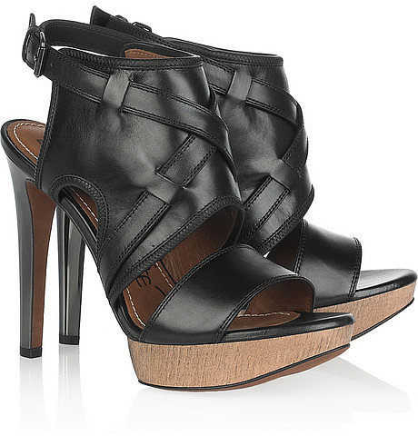 Lanvin Leather and wooden sandals