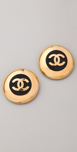 Wgaca Vintage Vintage Chanel CC Black Circle Earrings