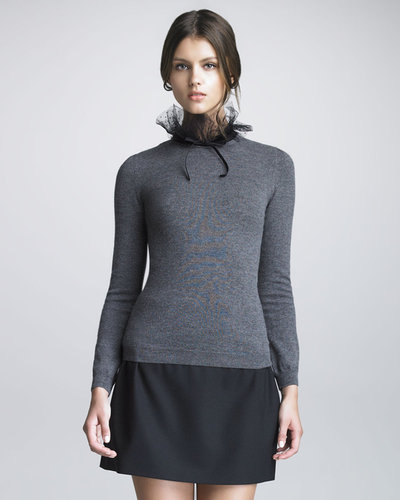 RED Valentino Point d'Esprit Trimmed Wool Sweater