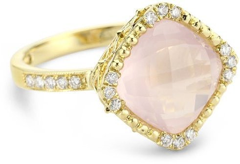 Katie Decker &quot;Stackable&quot; 18k Rose Quartz and Diamond Ring