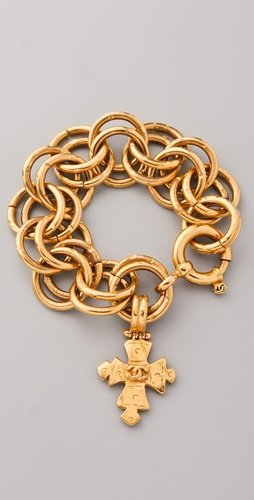 Wgaca Vintage Vintage Chanel Cross Charm Bracelet