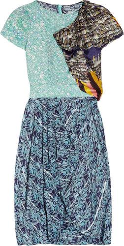 Michael van der Ham Embossed brocade and printed silk-satin dress