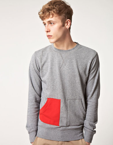 55DSL Faddler Crew Neck Contrast Pocket Sweat Shirt