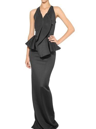 Givenchy - Shiny Stretch Jersey Peplum Long Dress