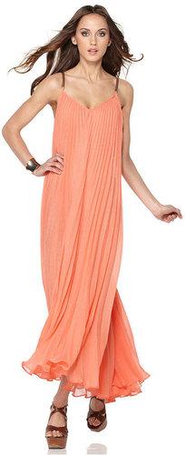 BCBGMAXAZRIA Dress, Edita Sleeveless V Neck Pleated Faux Leather Straps Racerback Maxi
