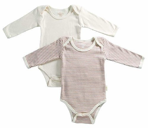 Tadpoles Organic Cotton 2Piece Romper Set Pinstripe/Solid, Cocoa, 3-6 Months
