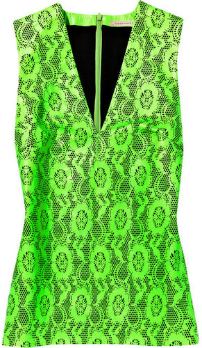 Christopher Kane Laser-cut neon leather top