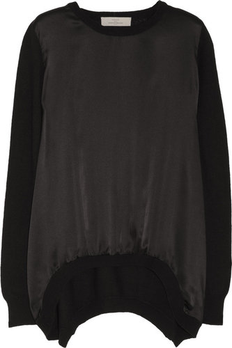 Preen Line Swing satin-paneled sweater