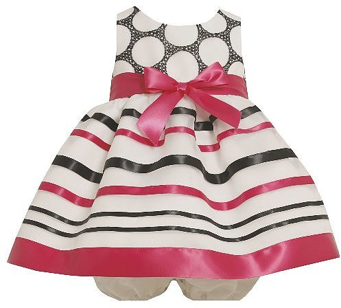 Bonnie Baby Girls Infant Organza Dress With Ribbon Trim
