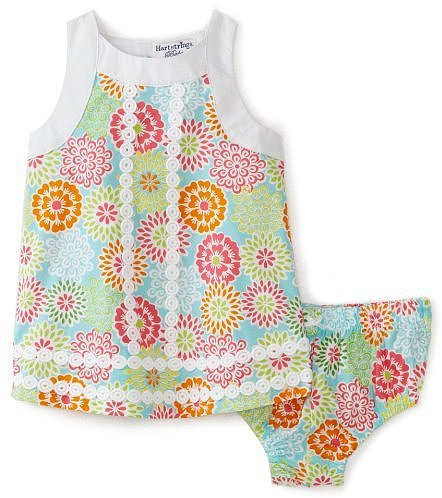 Hartstrings Baby-girls Newborn Printed Poplin Dress and Diaper Cover Set
