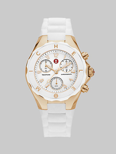 Michele Watches Tahitian Large Jelly Bean Chronograph Watch/White &Rose Gold
