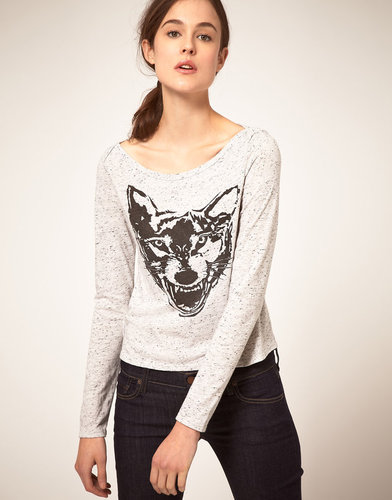 Textile Elizabeth and James Tshirt Long Sleeve With Printed Wolf