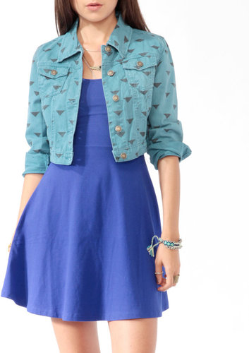 Forever 21 Cropped Ditsy Geo Denim Jacket
