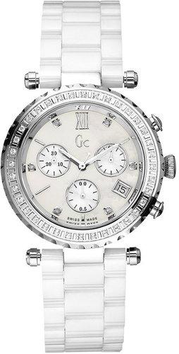 Gc Swiss Made Timepieces Watch, Women's Swiss Chronograph Diamond Bezel (1/2 ct. t.w.) White Ceramic Bracelet G01500M1