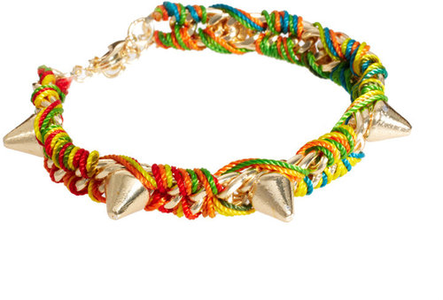 ASOS Wrapped Thread and Spike Charm Wristband Bracelet