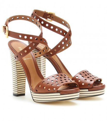 Fendi CUT-OUT LEATHER PLATFORM SANDALS