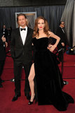 Angelina Jolie showed off her now infamous leg on the red carpet with Brad Pitt at the 2012 Oscars.