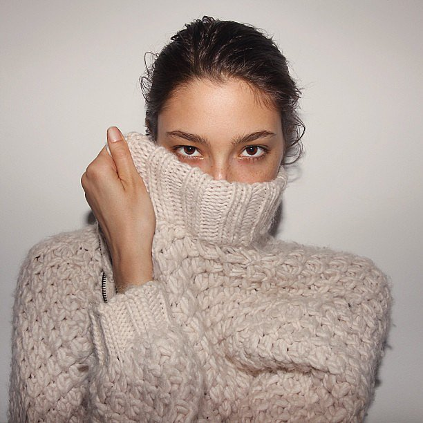Alexandra Agoston had us wishing for cool weather and a warm knit with this cosy pic. Source: Instagram user chriscolls