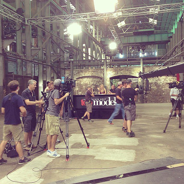 Behind-the-scenes vision of the Australia's Next Top Model taping. Can you see Jen Hawkins allll the way up the back there? Source: Instagram user jenhawkins_