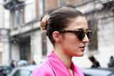 A ballerina bun is the perfect casual-chic updo for a day when the weather isn't 100 percent.
