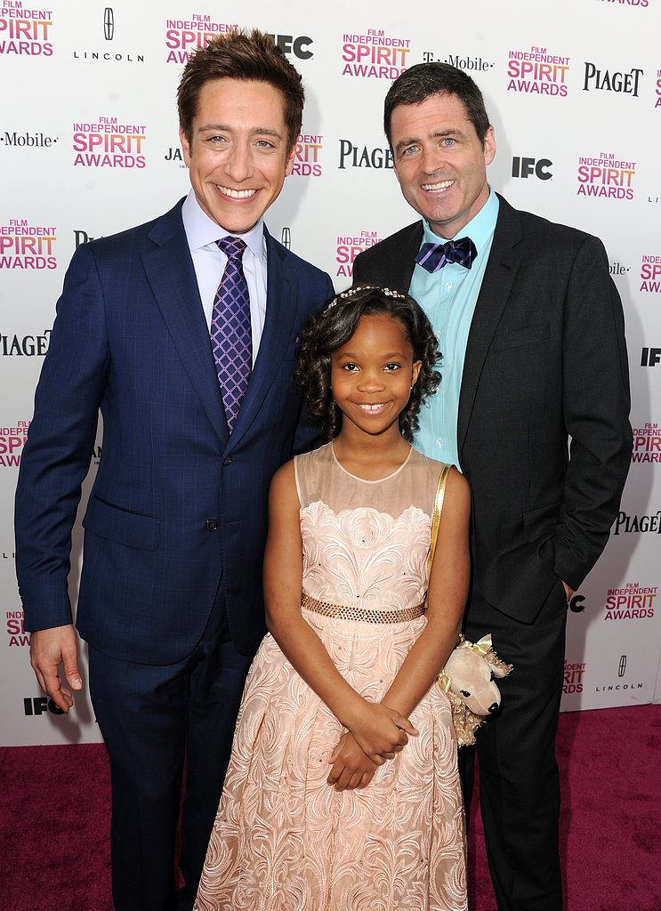 Sean McManus, Josh Welsh, and Quvenzhané Wallis on the red carpet at the Spirit Awardss 2013.