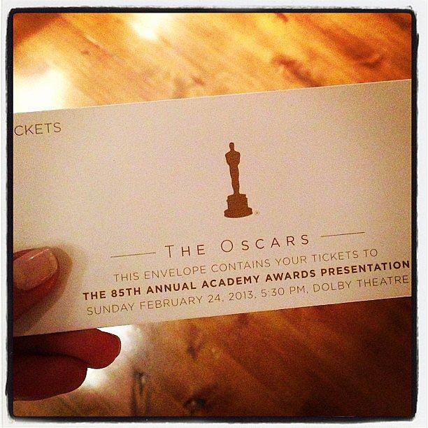 Stacy Keibler showed off her Oscar tickets. Source: Instagram user stacykeibler