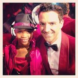 Quvenzhané Wallis posed with George Kotsiopoulos at the QVC party on Friday night in LA. Source: Instagram user georgekotsi