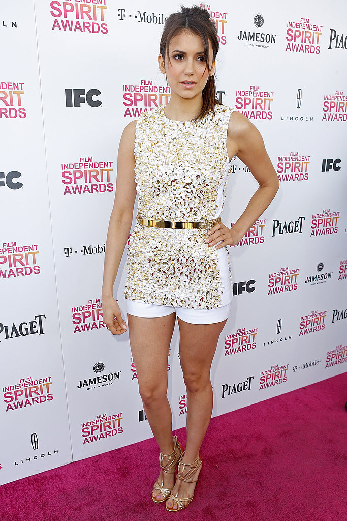 Nina Dobrev arrived at the Spirit Awards 2013.
