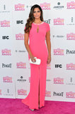 Camila Alves looked svelte in a body-hugging pink gown, which also featured a pretty jewel-embellished neckline and sexy front slits. To finish, she wore nude patent Brian Atwood heels.