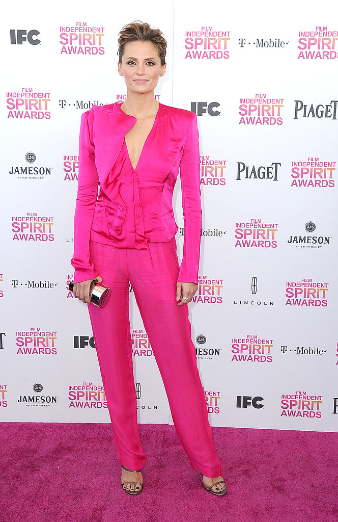 Castle star Stana Katic went for bold hues and sleek lines in a pink Donna Karan Resort '13 suit.
