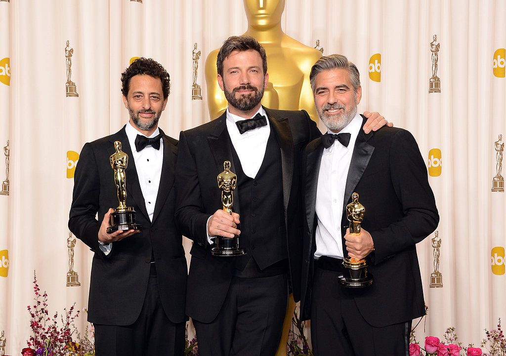 Grant Heslov, Ben Affleck, and George Clooney posed with their best picture Oscars.