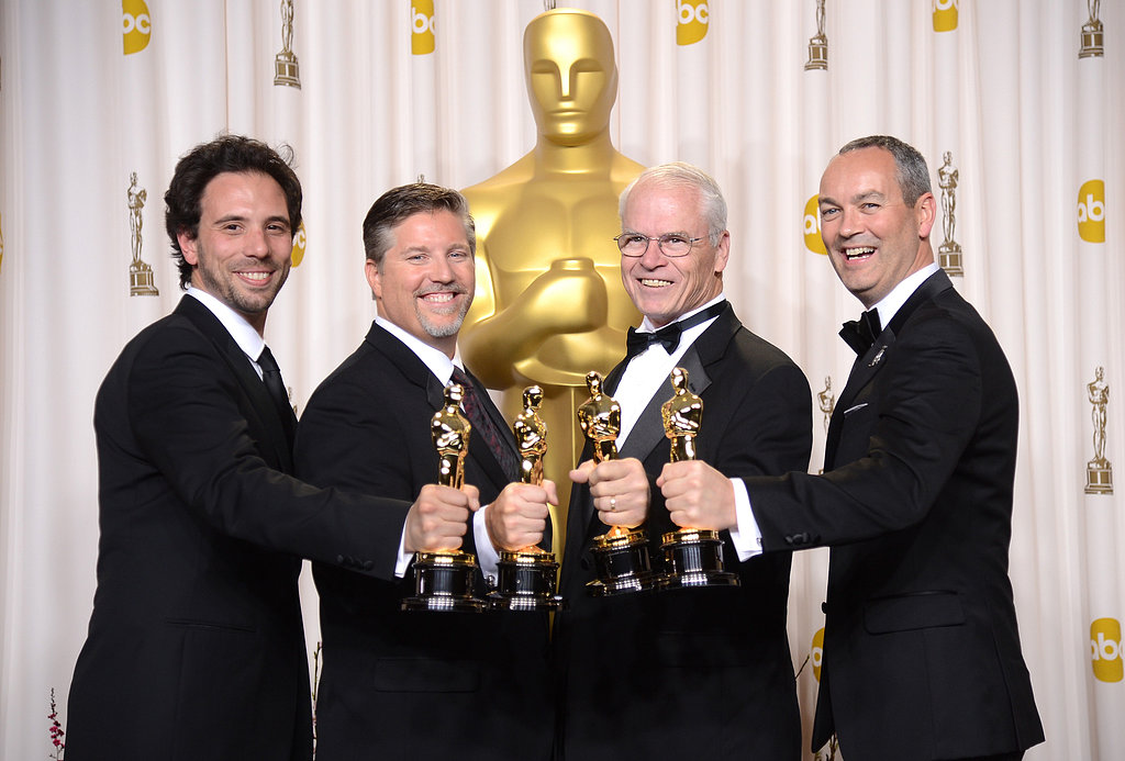 Guillaume Rocheron, Bill Westenhofer, Donald R. Elliott and Erik-Jan De Boer celebrated their Life of Pi Oscar win.