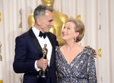 Daniel Day-Lewis and Meryl Streep posed together in the press room.