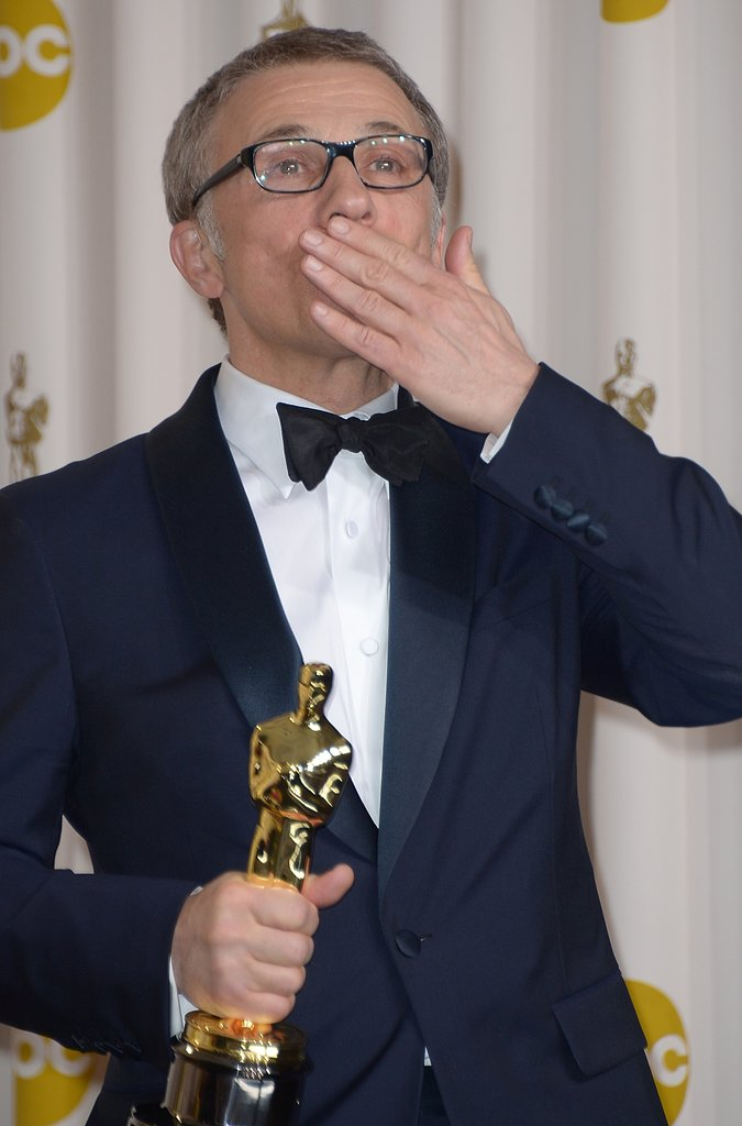 Christoph Waltz posed with his Oscar for his supporting role in Django Unchained.