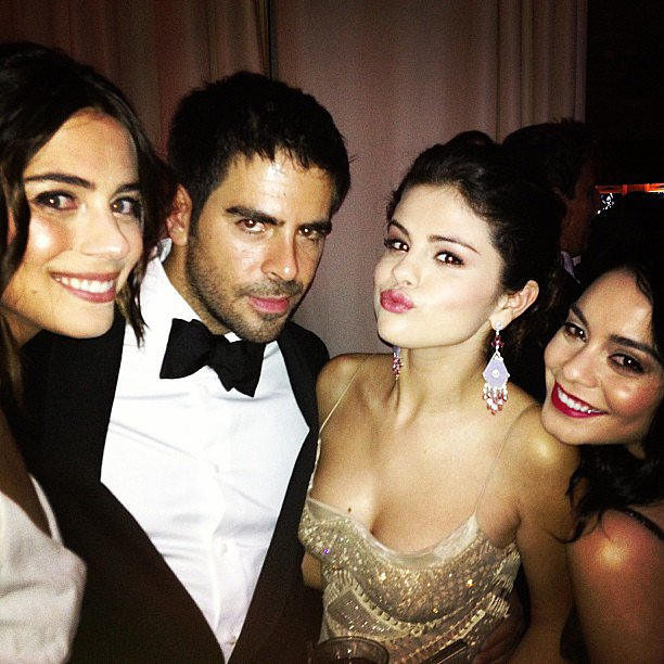 Eli Roth got his Oscars party on with Spring Breakers ladies Selena Gomez and Vanessa Hudgens.  Source: Instagram user realeliroth