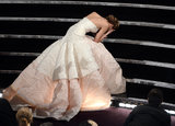 Jennifer Lawrence Trips on the Way to the Oscar Stage