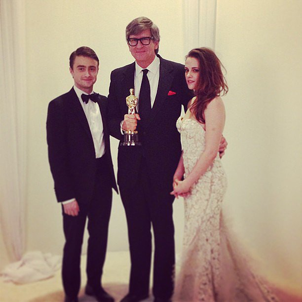Kristen Stewart and Daniel Radcliffe posed with Lincoln's Rick Carter, to whom they presented an award for best production design.  Source: Instagram user theacademy